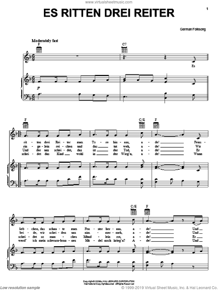 Es Ritten Drei Reiter (Three Knights Rode Forth) sheet music for voice, piano or guitar, intermediate skill level