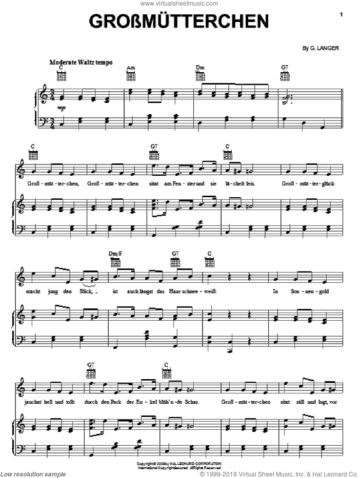 Grossmutterchen sheet music for voice, piano or guitar by Gustav Langer. Score Image Preview.