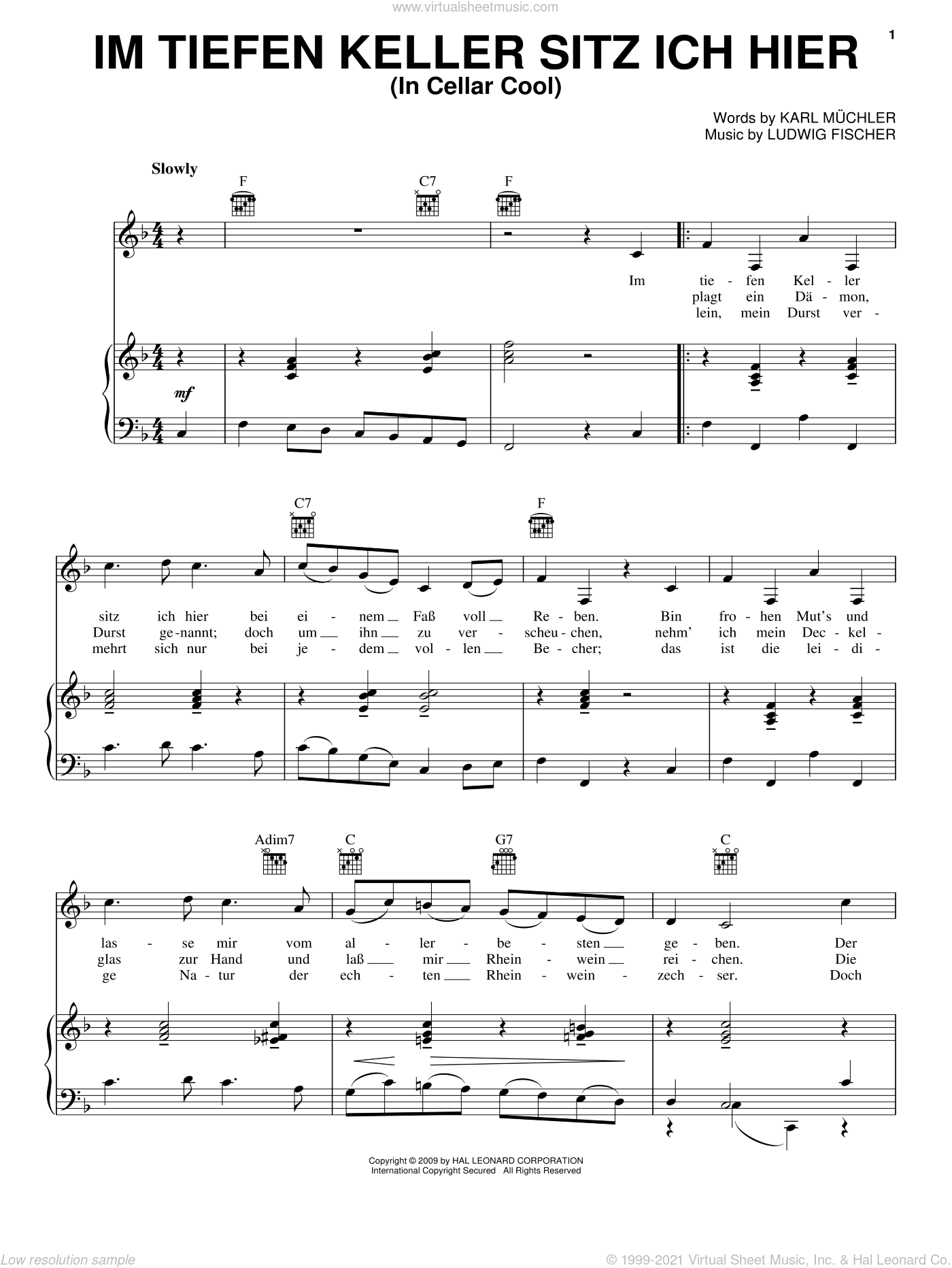 Im Tiefen Keller Sitz Ich Hier (In Cellar Cool) sheet music for voice, piano or guitar by Karl Muchler and Ludwig Fischer, intermediate skill level