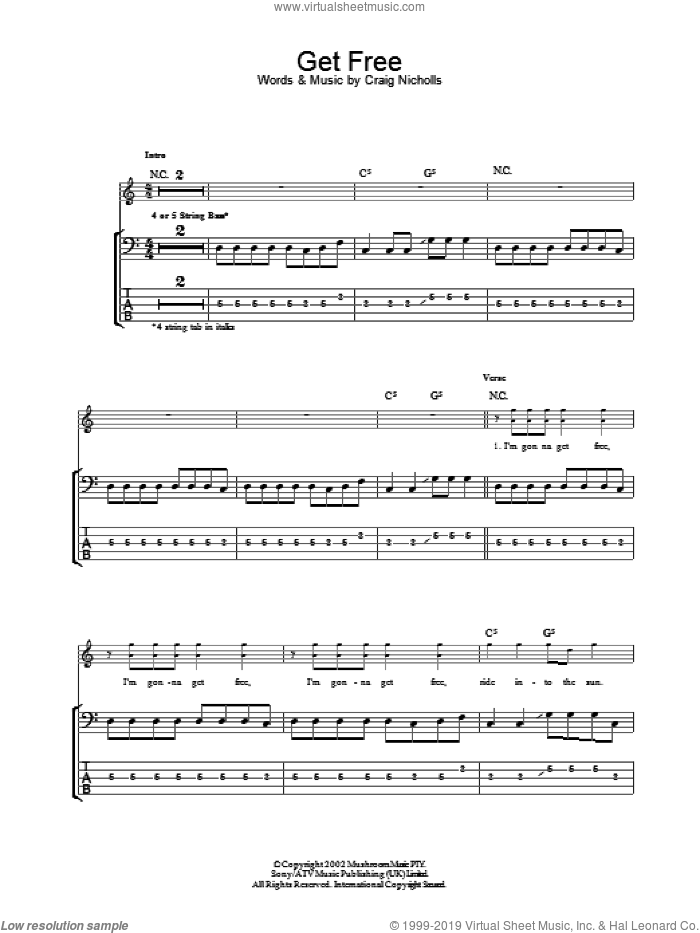 Get Free sheet music for bass (tablature) (bass guitar) by Craig Nicholls