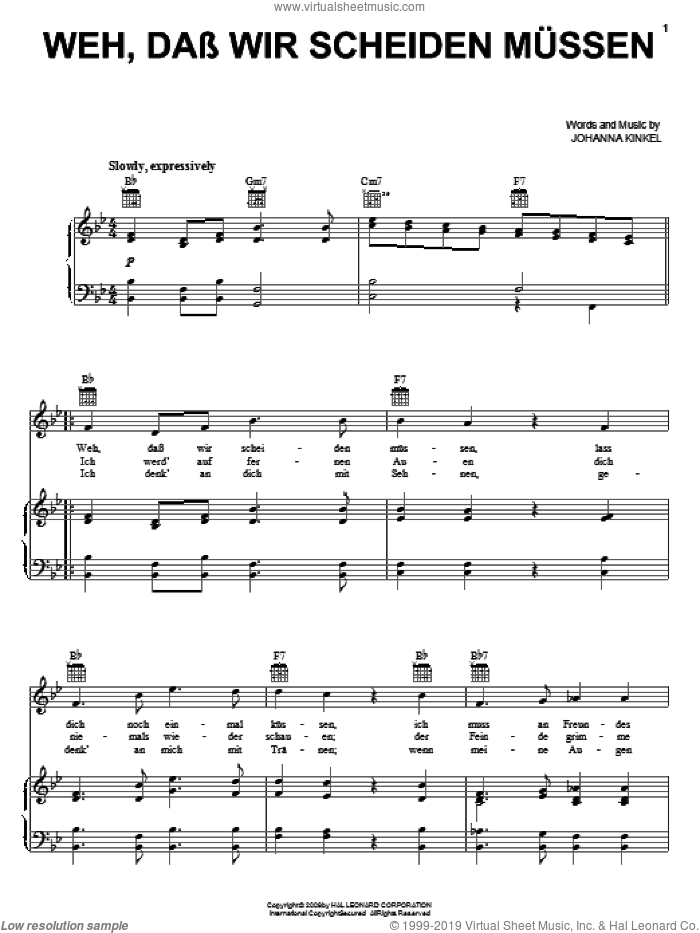 Weh, Dass Wir Scheiden Mussen (The Soldiers Farewell) sheet music for voice, piano or guitar by Johanna Kinkel, intermediate