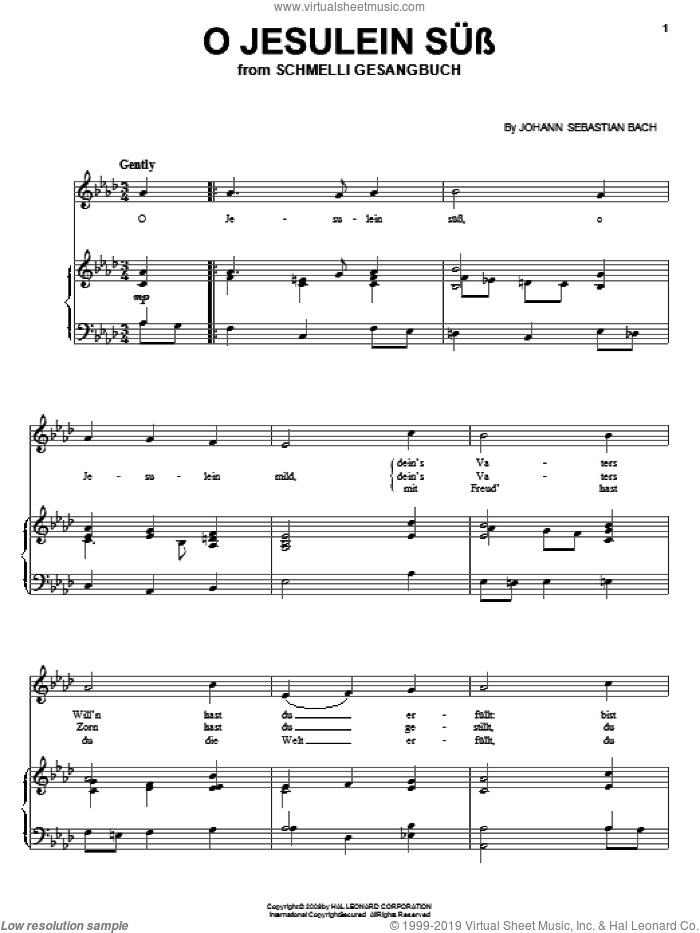 O Jesulein Suss sheet music for voice, piano or guitar by Johann Sebastian Bach