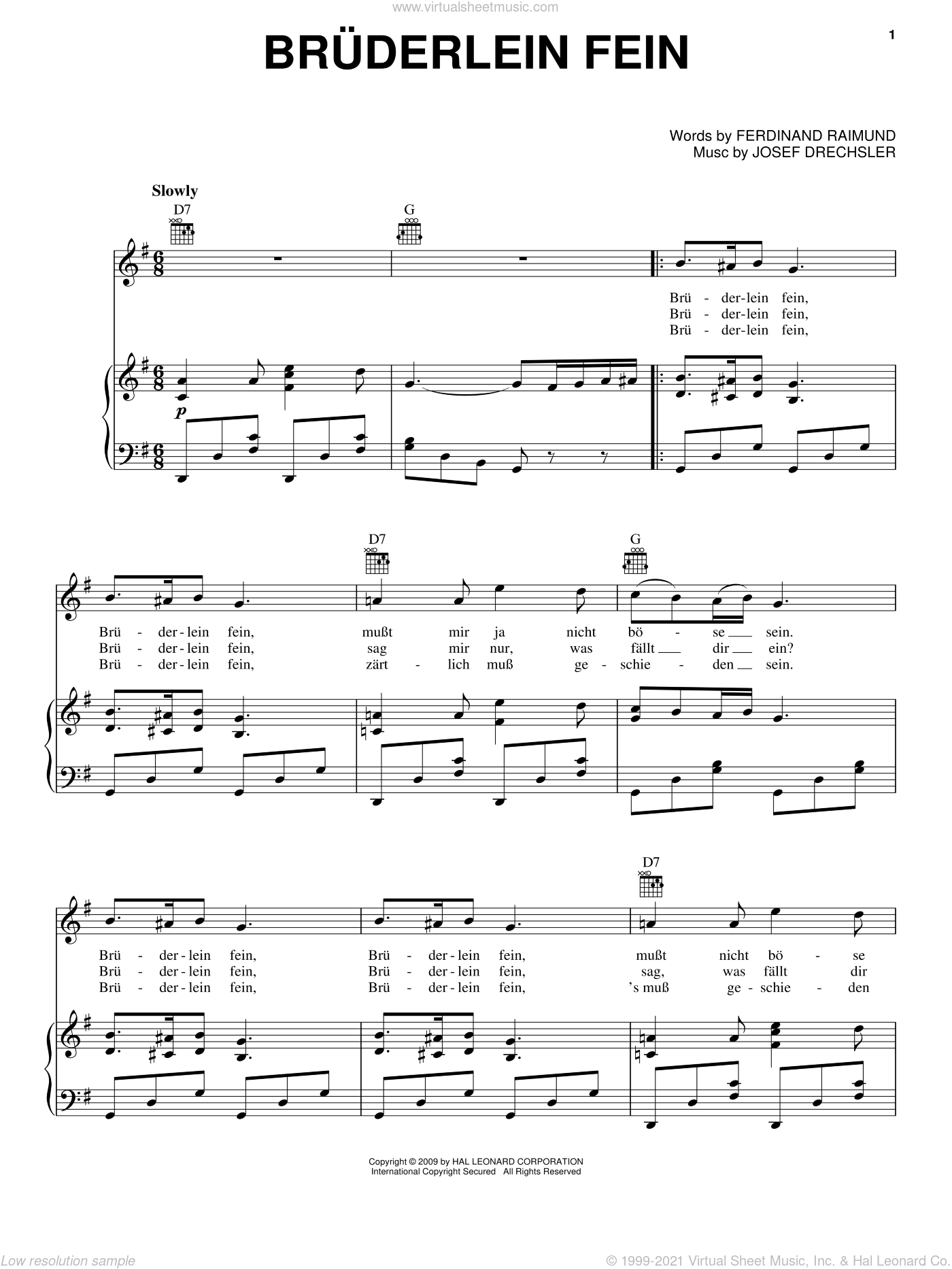 Bruderlein Fein sheet music for voice, piano or guitar by Ferdinand Raimund. Score Image Preview.