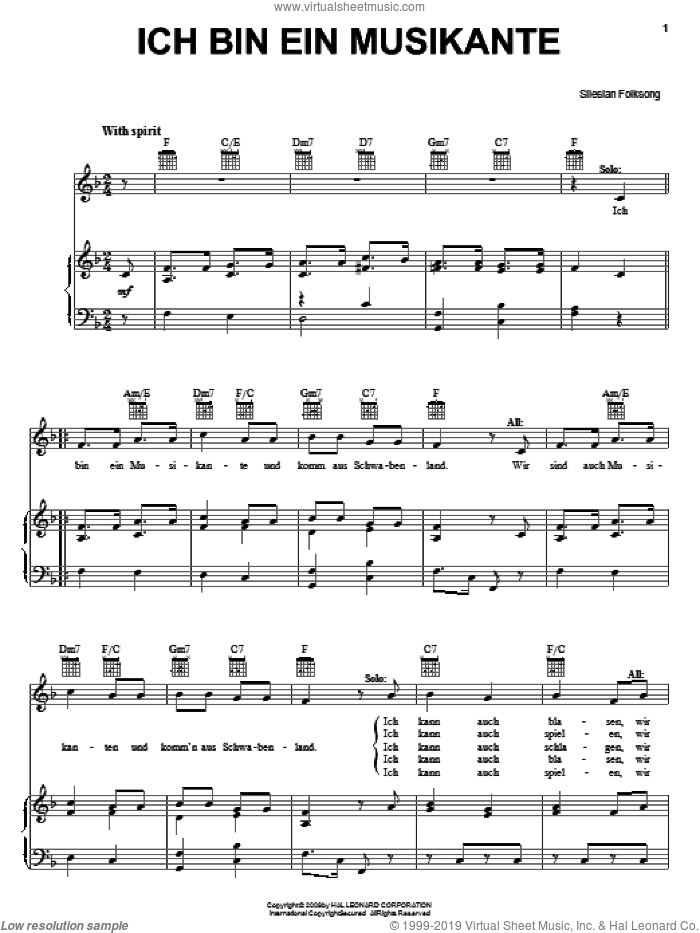 Ich Bin Ein Musikante sheet music for voice, piano or guitar by Otto Reuter and W. Aletter, intermediate skill level