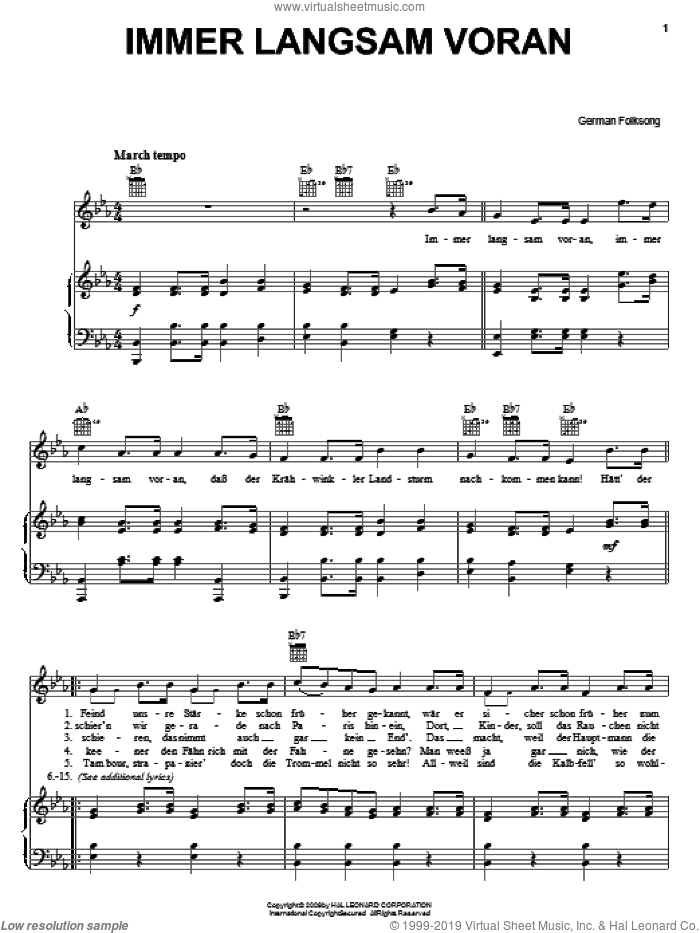 Immer Langsam Voran sheet music for voice, piano or guitar, intermediate. Score Image Preview.