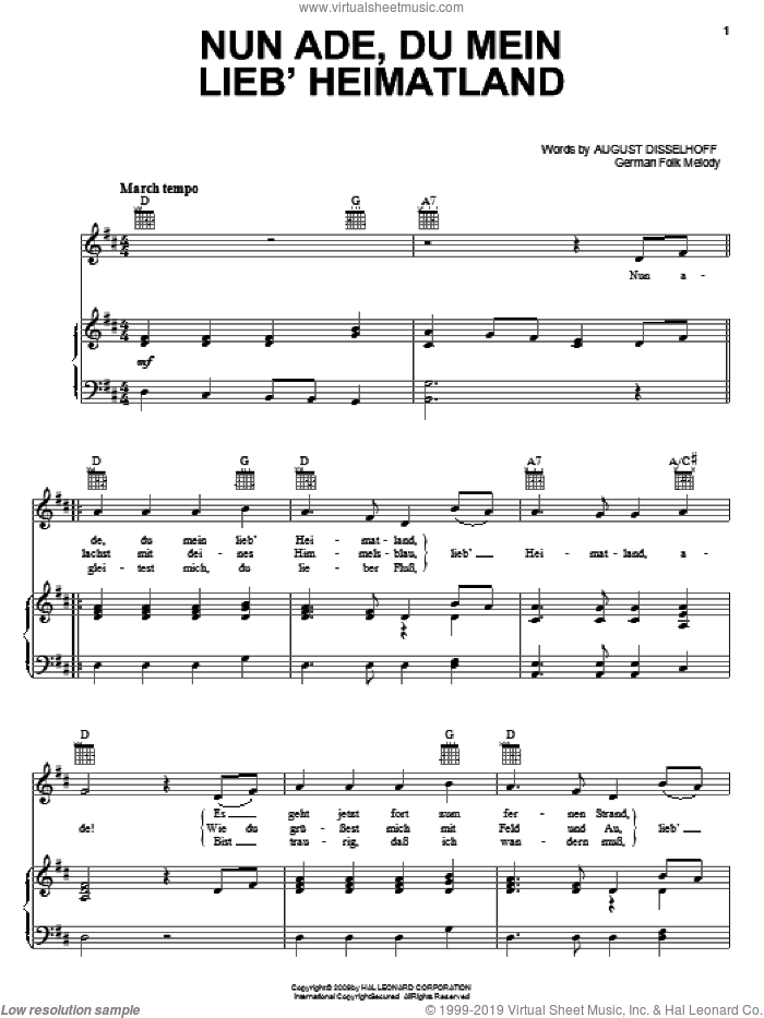 Nun Ade, Du Mein Lieb' Heimatlan sheet music for voice, piano or guitar by August Disselhoff and Miscellaneous, intermediate skill level