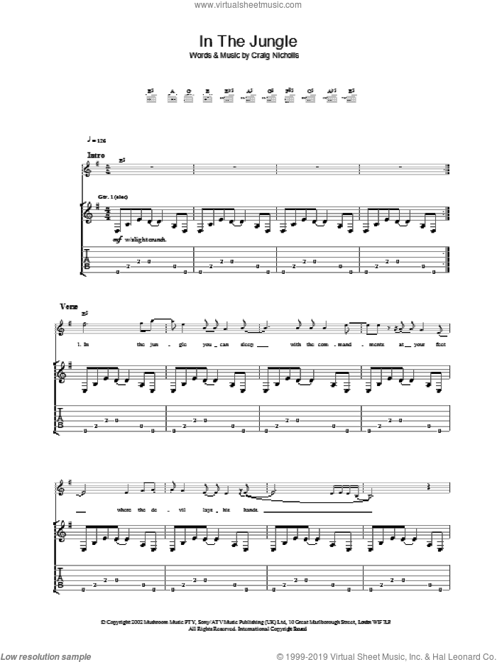 In The Jungle sheet music for guitar (tablature) by The Vines. Score Image Preview.