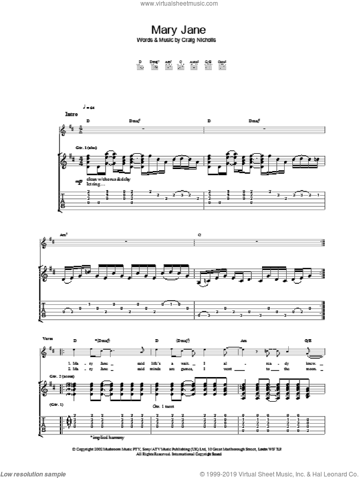 Mary Jane sheet music for guitar (tablature) by The Vines, intermediate skill level