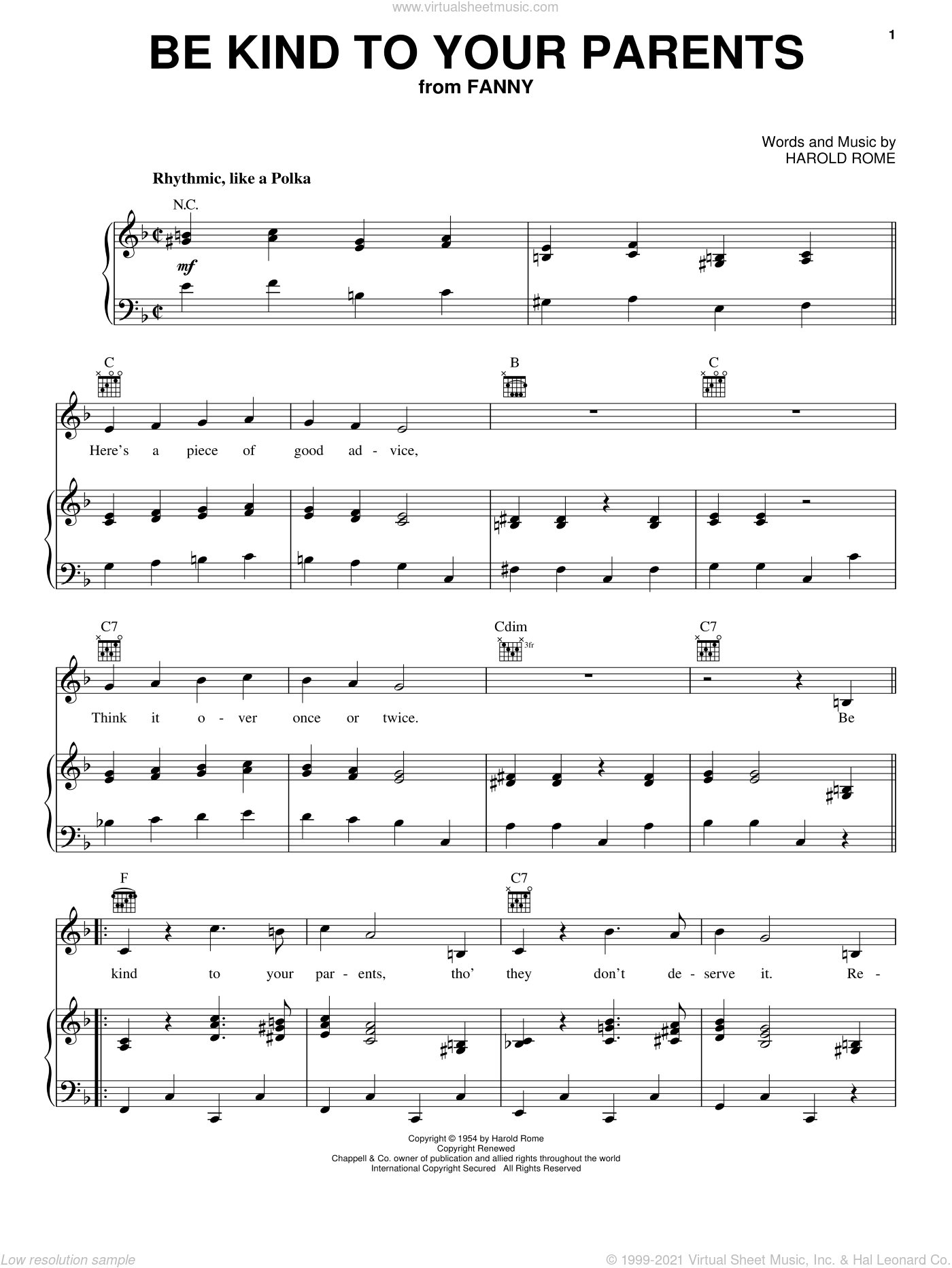 Be Kind To Your Parents sheet music for voice, piano or guitar by Harold Rome. Score Image Preview.