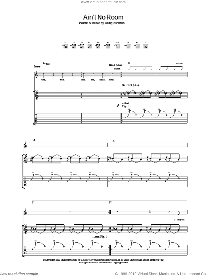 Ain't No Room sheet music for guitar (tablature) by The Vines. Score Image Preview.