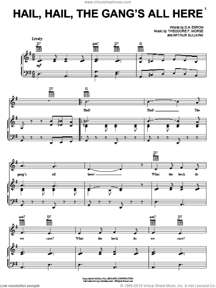 Hail, Hail, The Gang's All Here sheet music for voice, piano or guitar by Theodore F. Morse and Arthur Sullivan. Score Image Preview.