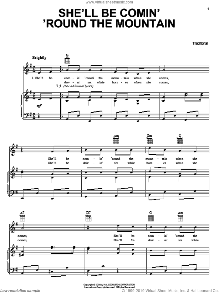 She'll Be Comin' 'Round The Mountain sheet music for voice, piano or guitar. Score Image Preview.