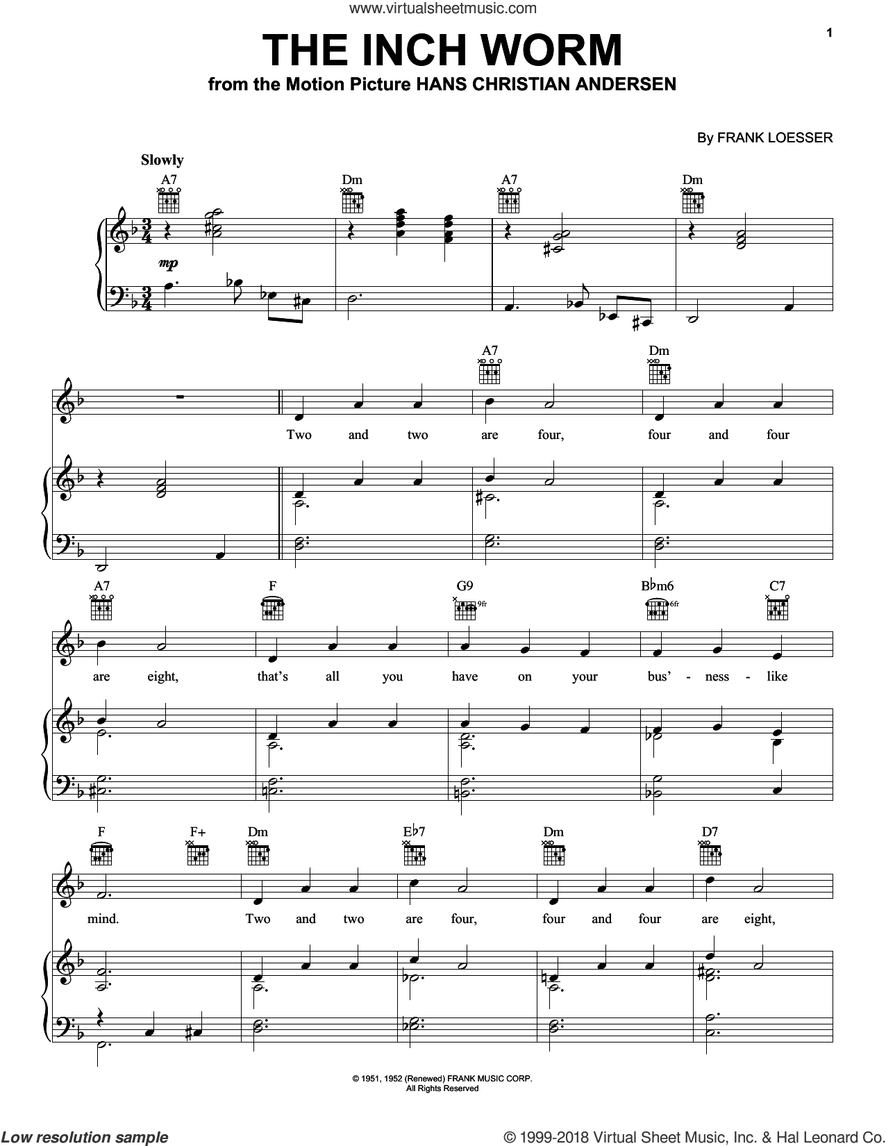 The Inch Worm sheet music for voice, piano or guitar by Frank Loesser, intermediate skill level