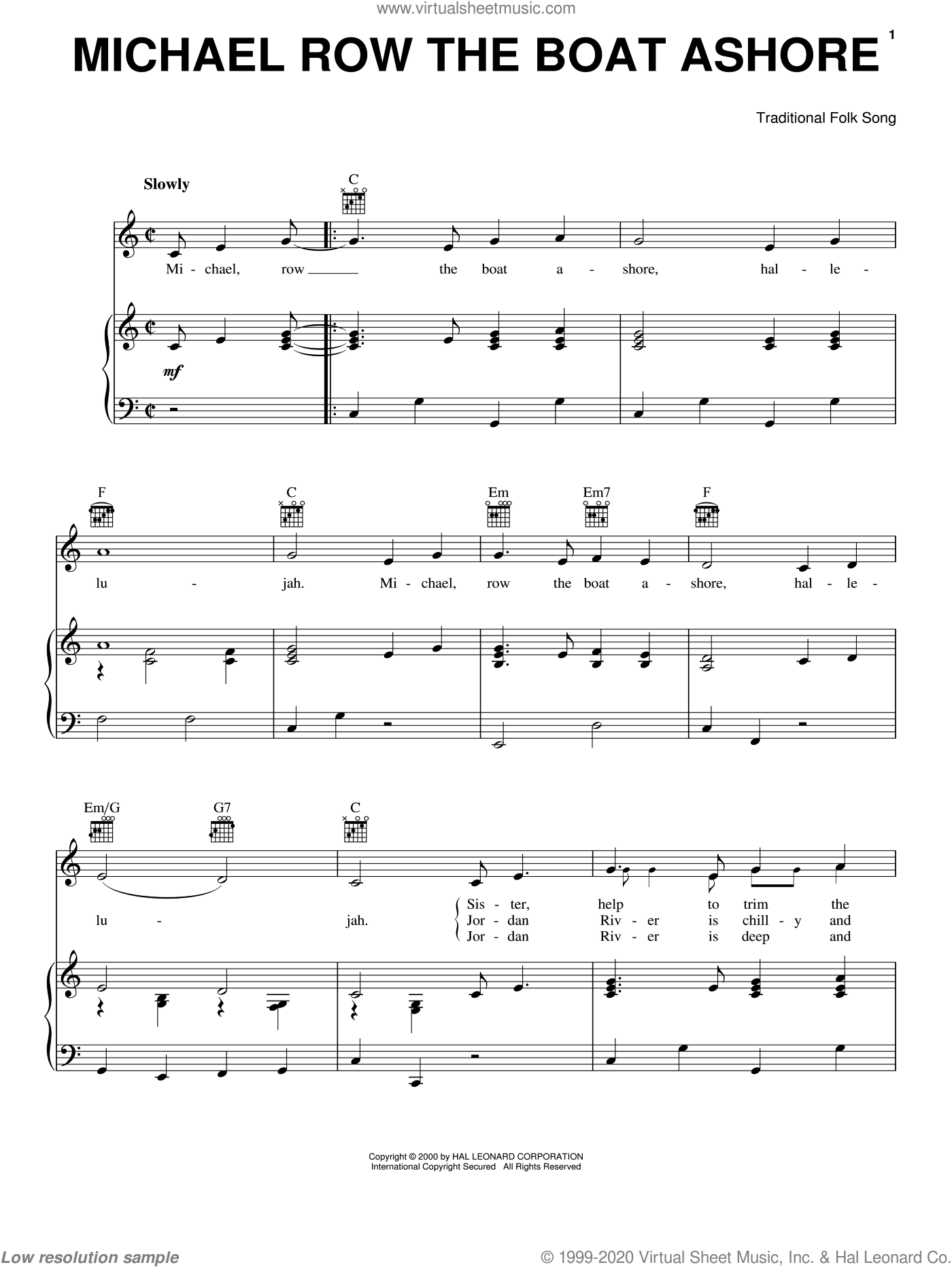 Michael Row The Boat Ashore sheet music for voice, piano or guitar, intermediate skill level
