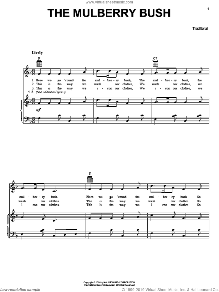 The Mulberry Bush sheet music for voice, piano or guitar. Score Image Preview.