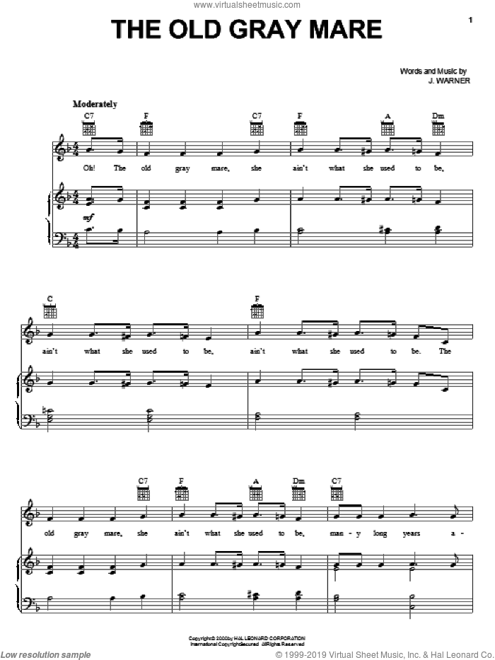 The Old Gray Mare sheet music for voice, piano or guitar by J. Warner, intermediate skill level