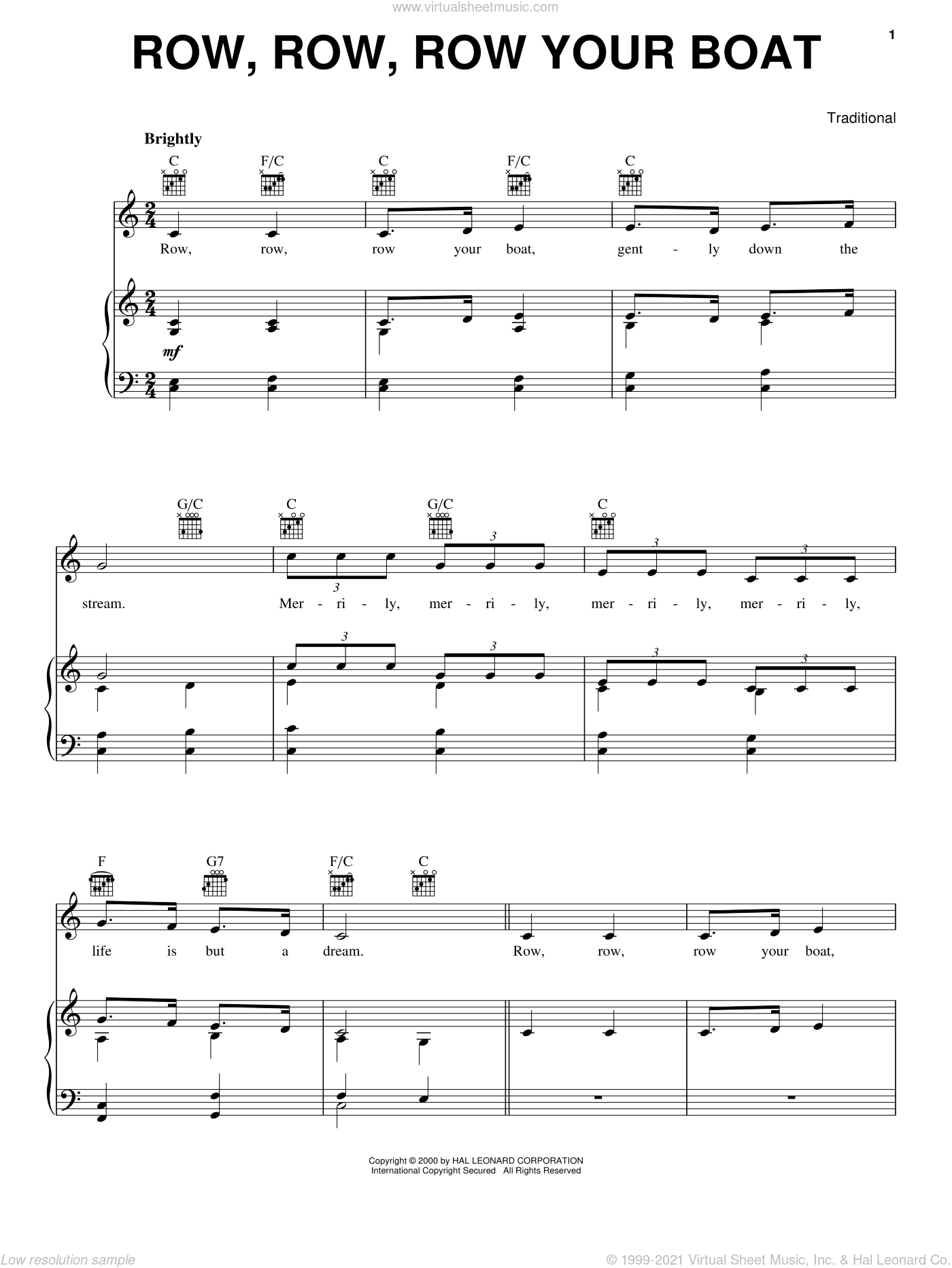 Row, Row, Row Your Boat sheet music for voice, piano or guitar, intermediate skill level