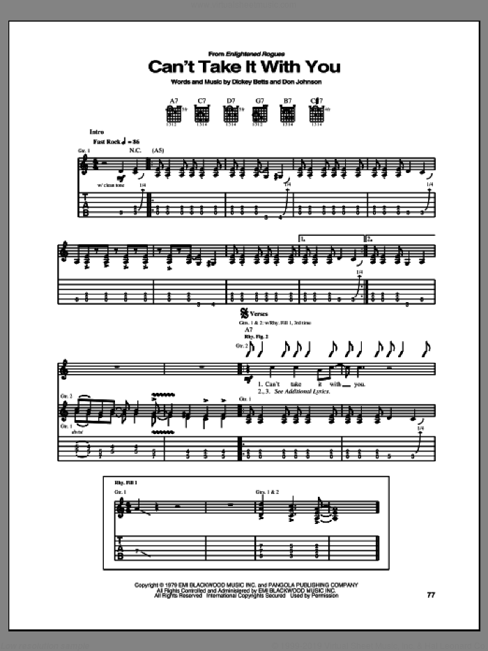 Can't Take It With You sheet music for guitar (tablature) by The Allman Brothers Band, Allman Brothers Band, Dickey Betts and Don Johnson, intermediate skill level