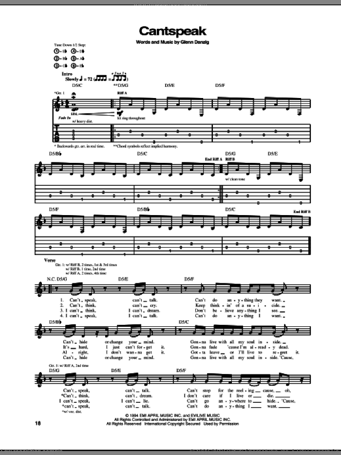 Cantspeak sheet music for guitar (tablature) by Danzig, intermediate guitar (tablature). Score Image Preview.