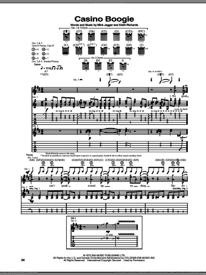 Casino Boogie sheet music for guitar (tablature) by Mick Jagger, The Rolling Stones and Keith Richards. Score Image Preview.