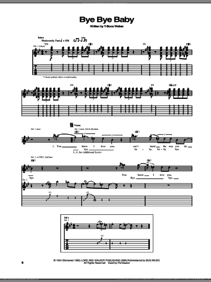 Bye Bye Baby sheet music for guitar (tablature) by Aaron