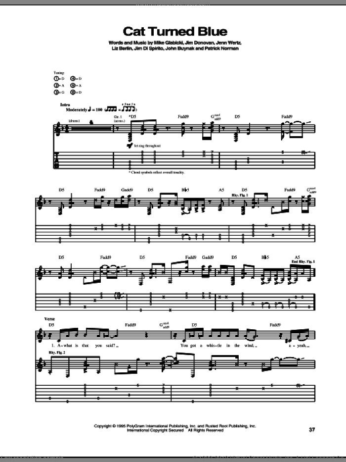 Cat Turned Blue sheet music for guitar (tablature) by Rusted Root, Jenn Wertz, Jim Di Spirito, Jim Donovan, John Buynak, Liz Berlin, Mike Glabicki and Patrick Norman, intermediate skill level