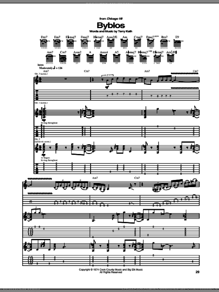 Byblos sheet music for guitar (tablature) by Chicago and Terry Kath, intermediate skill level