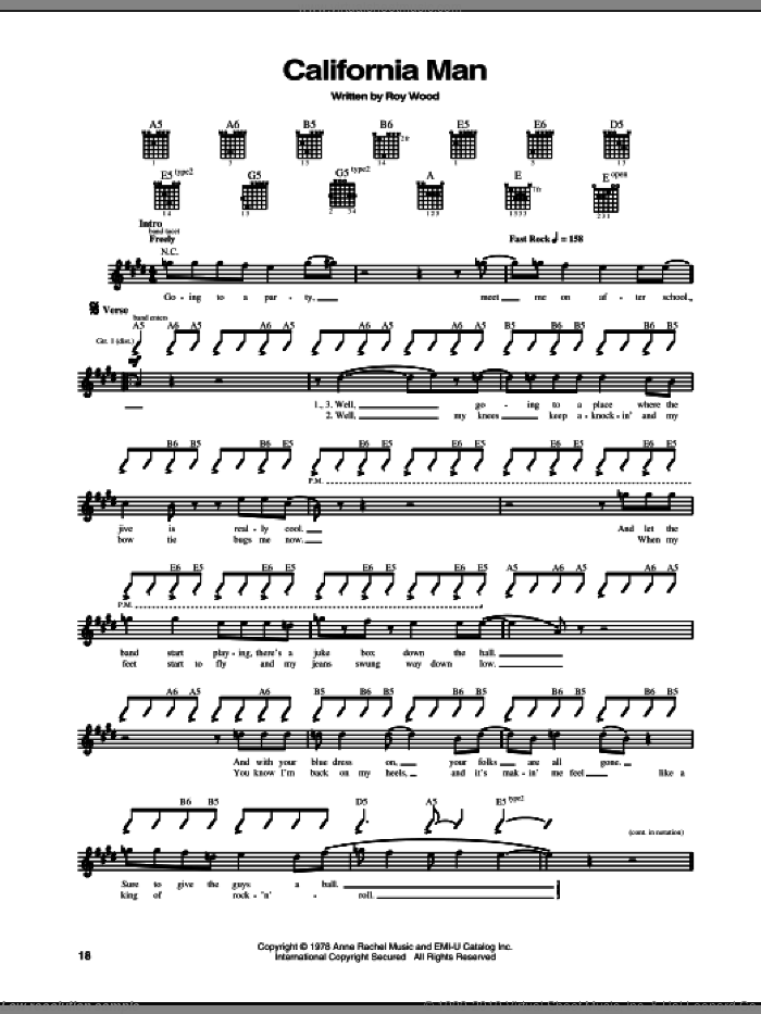 California Man sheet music for guitar (tablature) by Cheap Trick and Ray Wood, intermediate. Score Image Preview.