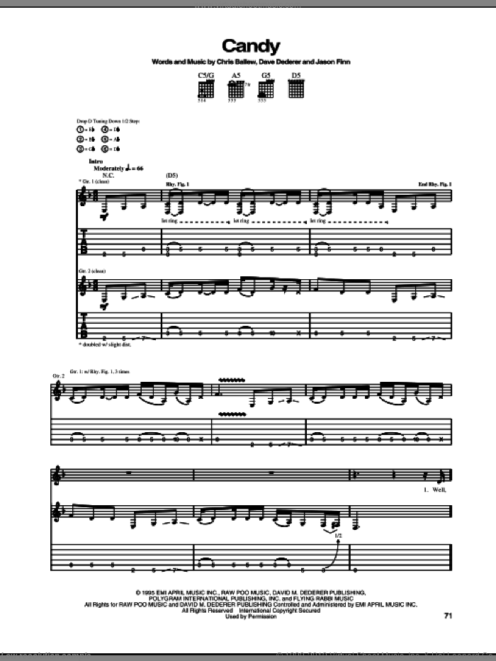 Candy sheet music for guitar (tablature) by Jason Finn. Score Image Preview.