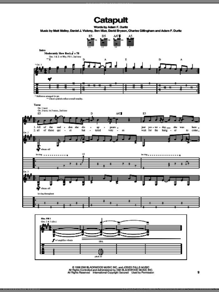 Catapult sheet music for guitar (tablature) by Counting Crows, Adam Duritz, Ben Mize, Charles Gillingham, Dan Vickrey, David Bryson and Matt Malley, intermediate skill level