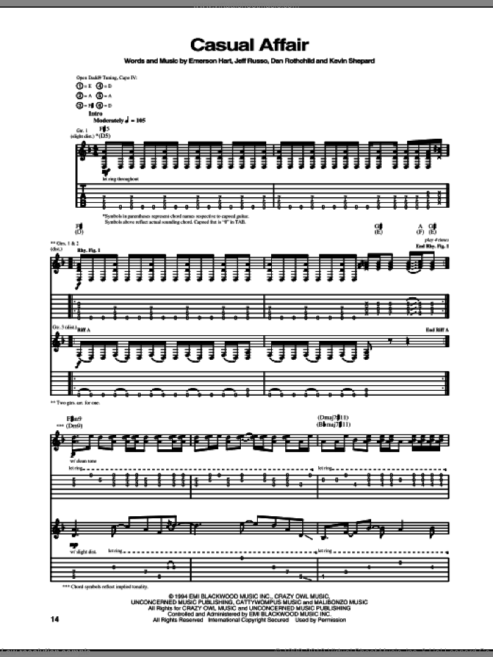 Casual Affair sheet music for guitar (tablature) by Kevin Shepard