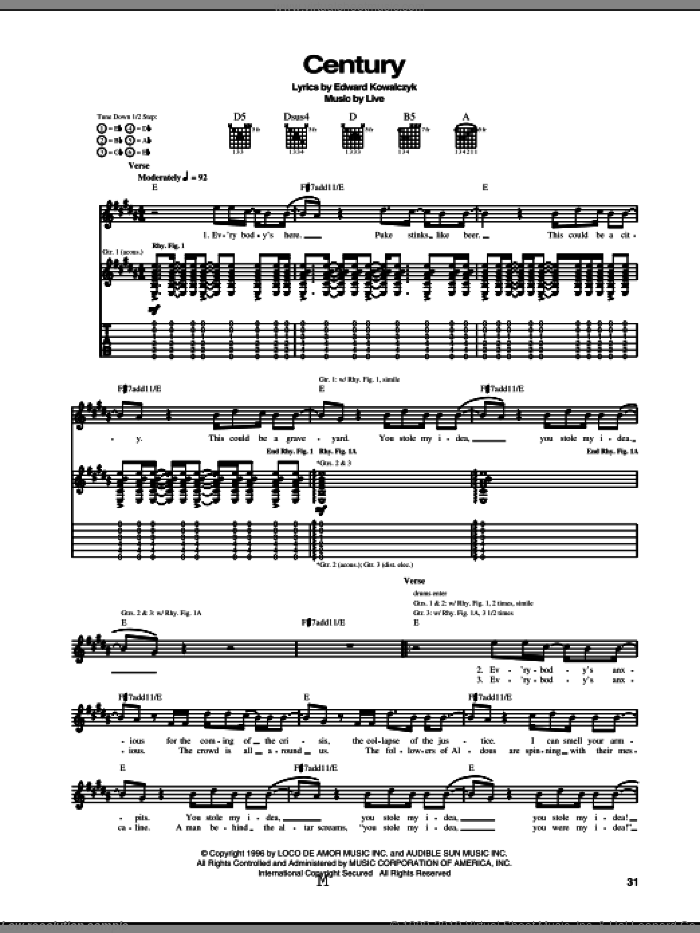 Century sheet music for guitar (tablature) by Live and Edward Kowalczyk, intermediate