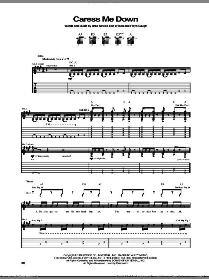 Caress Me Down sheet music for guitar solo (tablature) by Floyd Gaugh