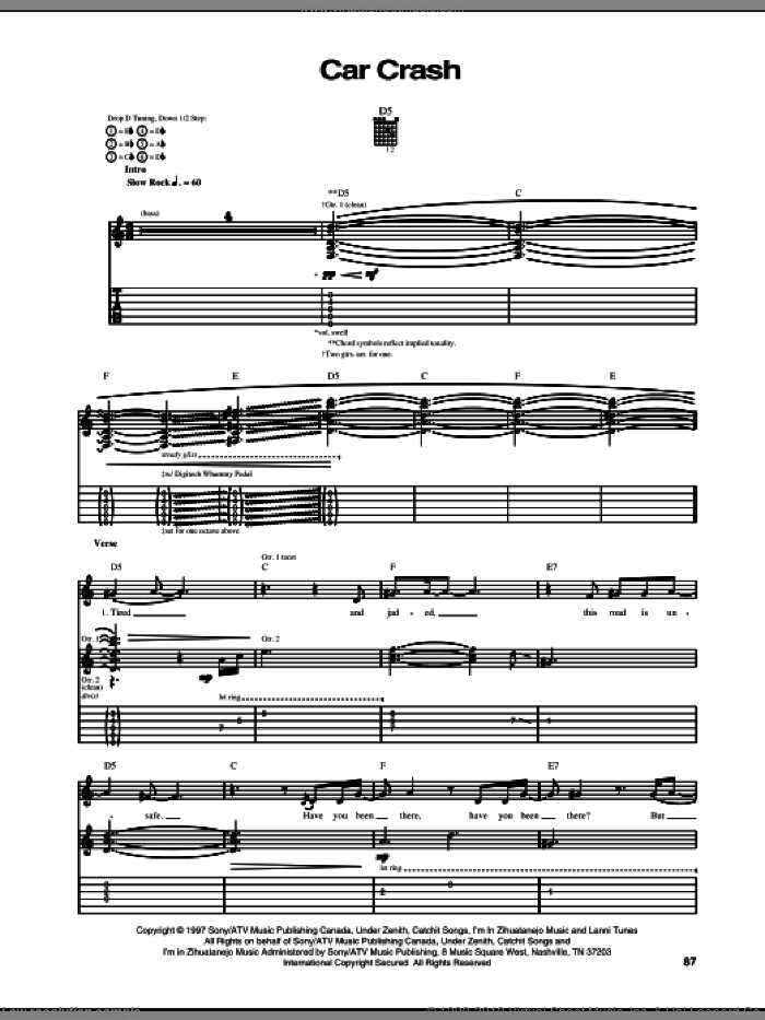 Car Crash sheet music for guitar (tablature) by Arnold Lanni. Score Image Preview.