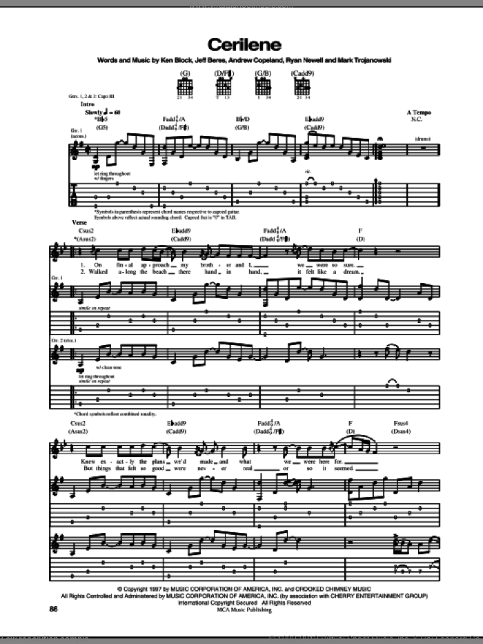 Cerilene sheet music for guitar (tablature) by Ryan Newell and Sister Hazel. Score Image Preview.
