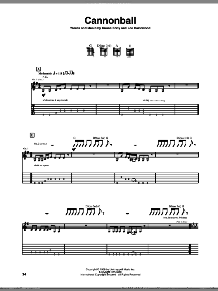 Cannonball sheet music for guitar (tablature) by Duane Eddy and Lee Hazlewood, intermediate skill level