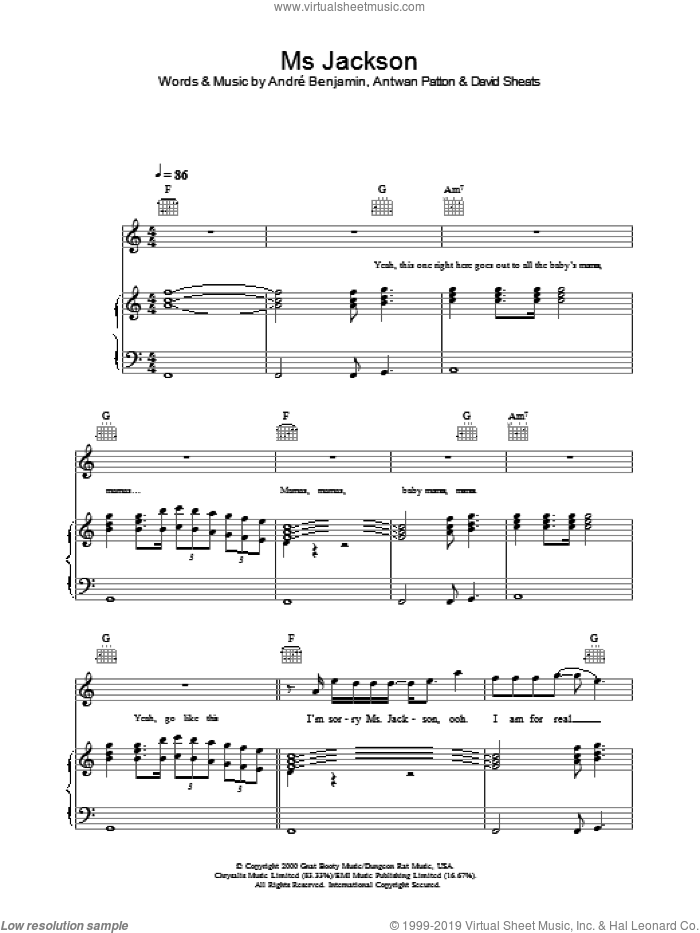 Ms Jackson sheet music for voice, piano or guitar by OutKast, intermediate skill level