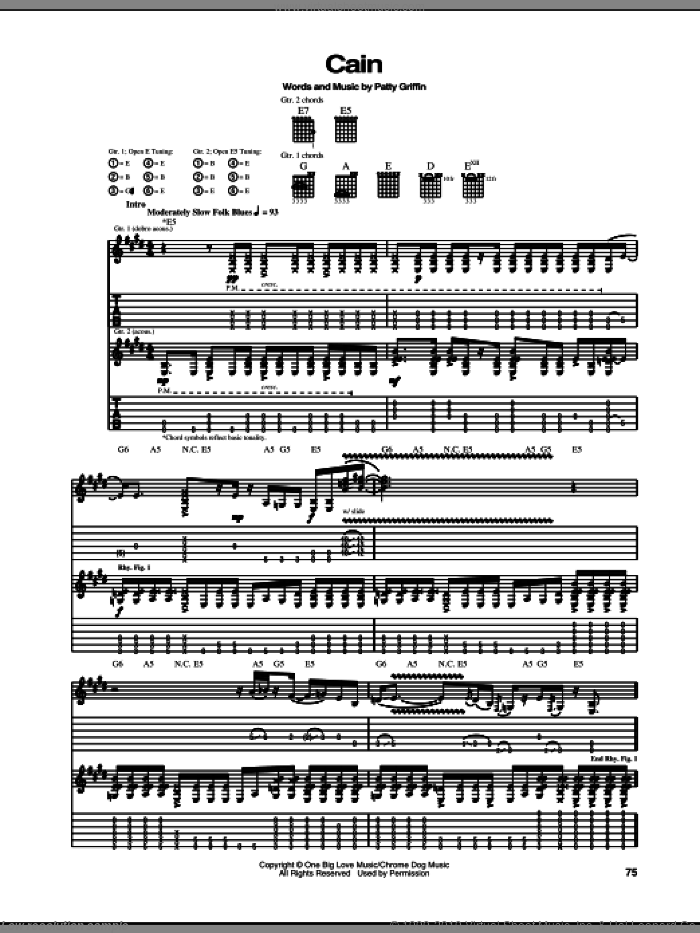 Cain sheet music for guitar (tablature) by Patty Griffin. Score Image Preview.