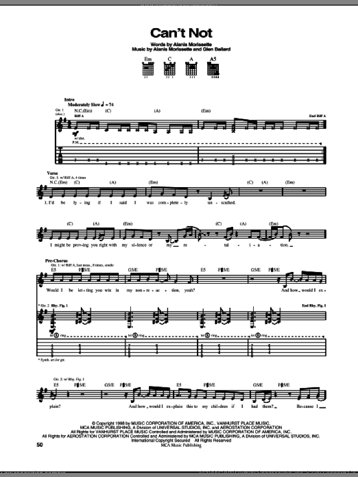 Can't Not sheet music for guitar (tablature) by Alanis Morissette and Glen Ballard, intermediate. Score Image Preview.