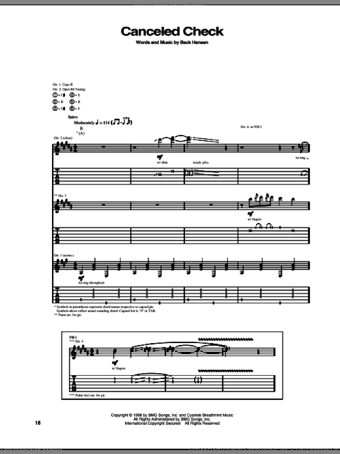 Canceled Check sheet music for guitar (tablature) by Beck Hansen. Score Image Preview.