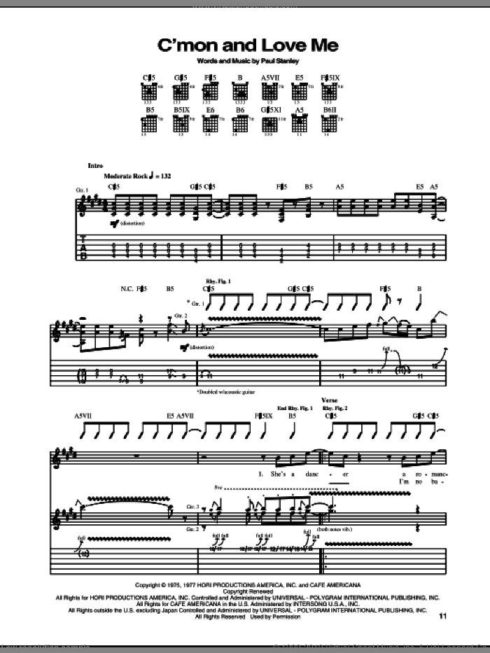 C'mon And Love Me sheet music for guitar (tablature) by KISS and Paul Stanley, intermediate