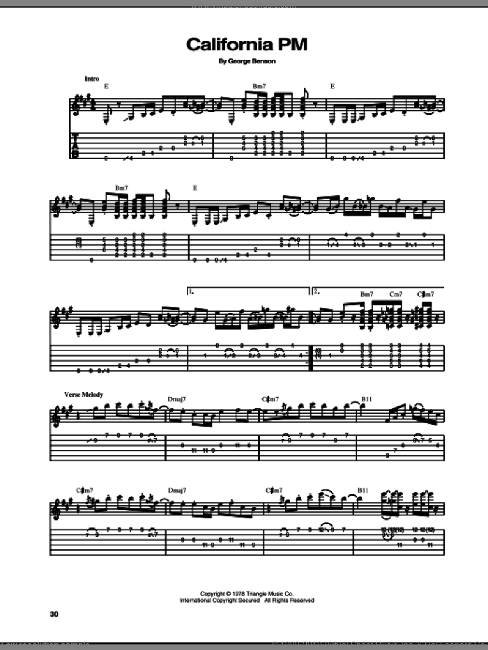 California PM sheet music for guitar (tablature) by George Benson