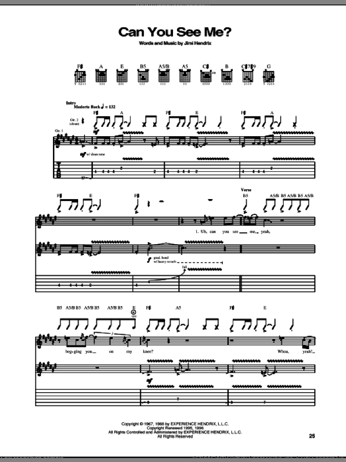 Can You See Me sheet music for guitar (tablature) by Jimi Hendrix, intermediate. Score Image Preview.