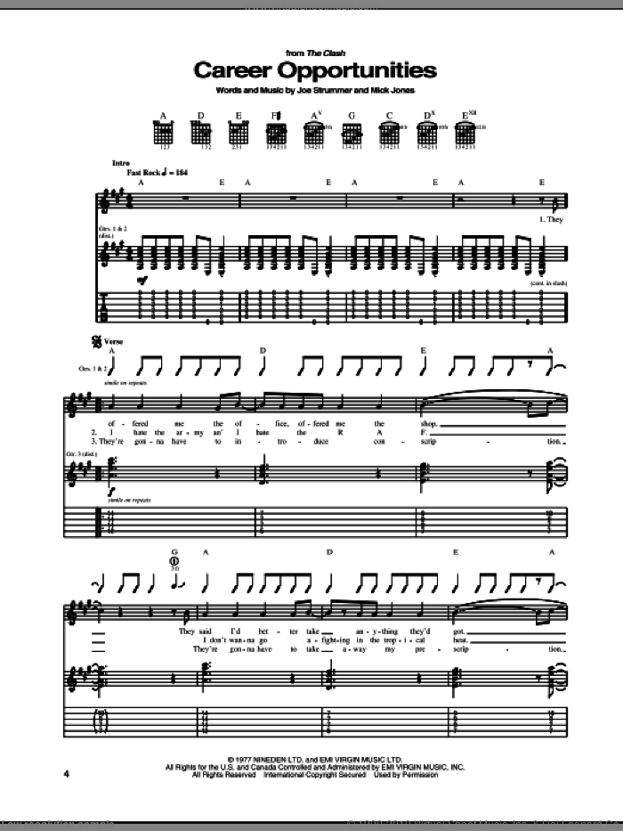Career Opportunities sheet music for guitar (tablature) by The Clash and Mick Jones. Score Image Preview.