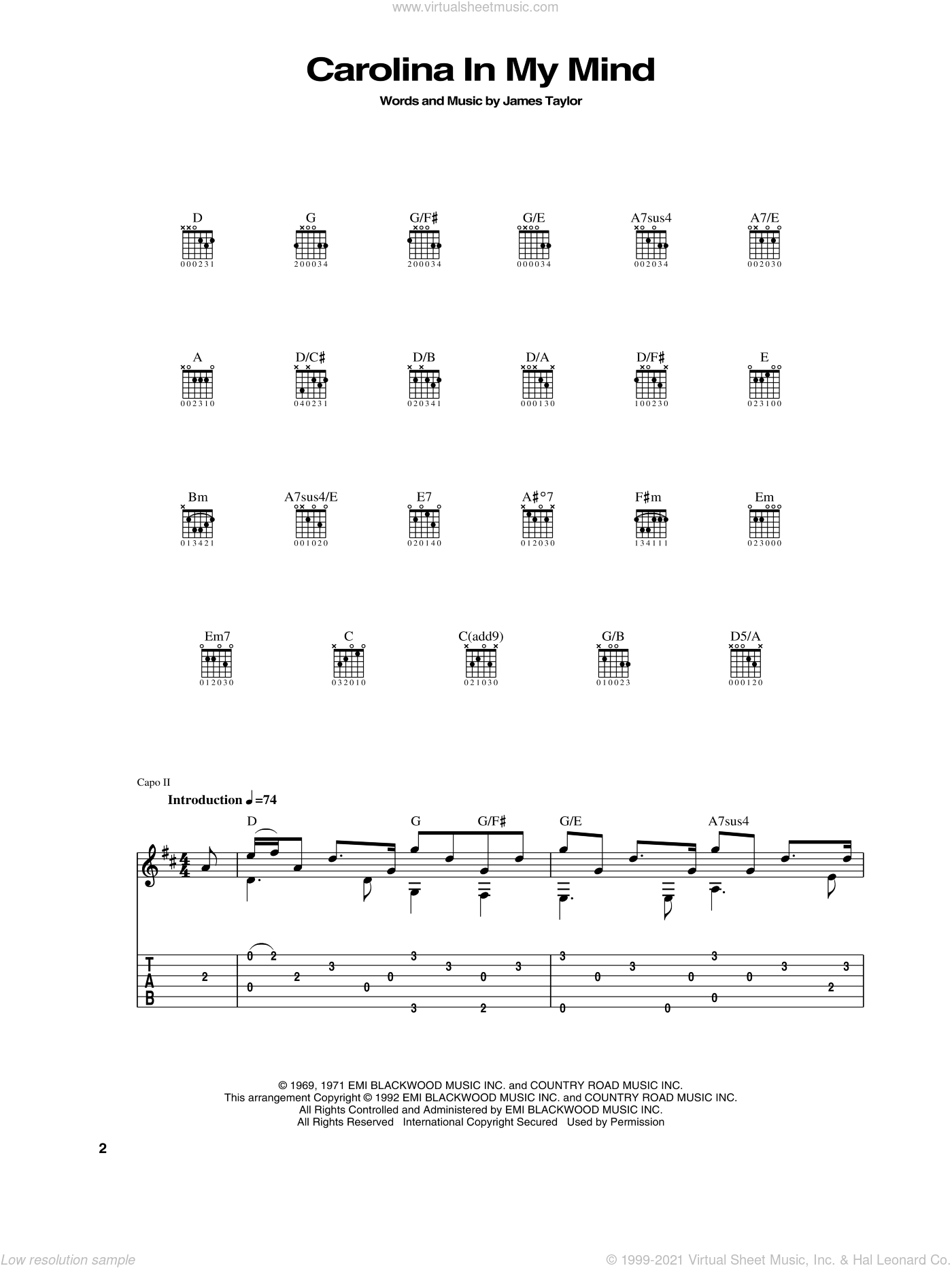 Carolina In My Mind sheet music for guitar (tablature) by James Taylor