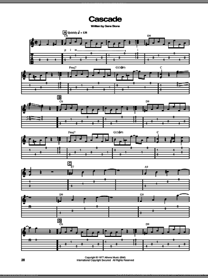 Cascade sheet music for guitar (tablature) by Gene Slone