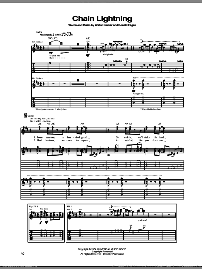 Chain Lightning sheet music for guitar (tablature) by Walter Becker and Donald Fagen. Score Image Preview.