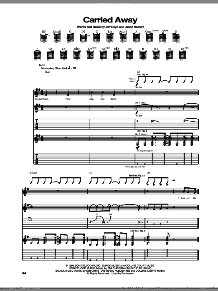 Carried Away sheet music for guitar (tablature) by Jeff Deyo and Jason Halbert. Score Image Preview.