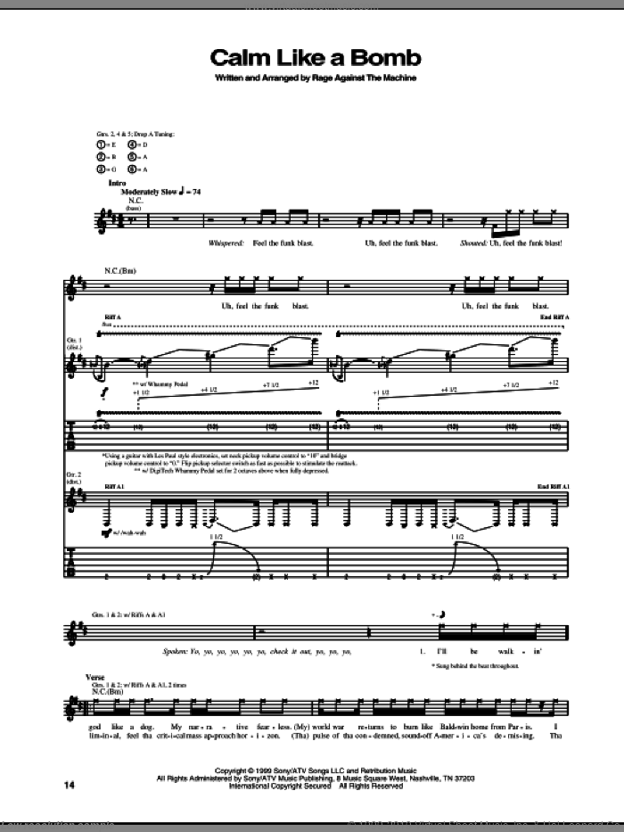 Calm Like A Bomb sheet music for guitar (tablature) by Rage Against The Machine. Score Image Preview.