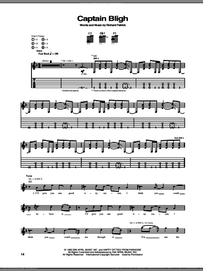 Captain Bligh sheet music for guitar (tablature) by Filter and Richard Patrick, intermediate. Score Image Preview.
